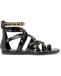 Balmain - Embellished Leather Sandals - Lyst