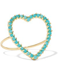 Jennifer Meyer - Open Heart 18-karat Gold Turquoise Ring Gold 6 - Lyst