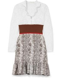 Chloé - Panelled Lace, Stretch And Jacquard-knit Mini Dress - Lyst