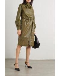 Dodo Bar Or Bilbi Draped Leather Blouse - Green