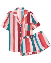 Desmond & Dempsey - Striped Cotton-voile Pajama Set - Lyst