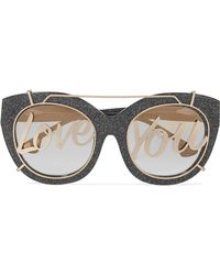 Alice + Olivia - Walker Cat-eye Glittered Acetate And Gold-tone Sunglasses - Lyst