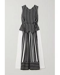 Victoria Beckham Belted Striped Silk-satin Midi Dress - Black