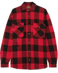 MadeWorn Sutton Distressed Checked Cotton-flannel Shirt - Red