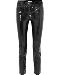 FRAME - Slick Cropped Patent-leather High-rise Slim-leg Trousers - Lyst