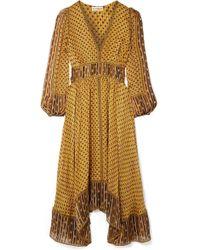 Ulla Johnson - Amabelle Printed Silk-jacquard Midi Dress - Lyst