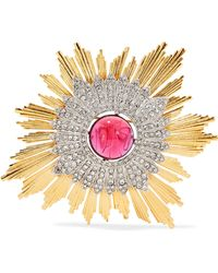 Kenneth Jay Lane - Gold And Silver-tone Crystal Brooch - Lyst