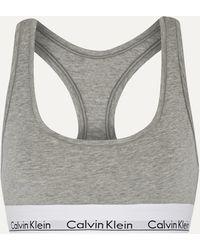 Calvin Klein Modern Cotton Stretch Cotton-blend Soft-cup Bra - Grey