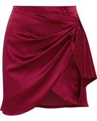 Caroline Constas - Koren Wrap-effect Silk-blend Satin Mini Skirt - Lyst