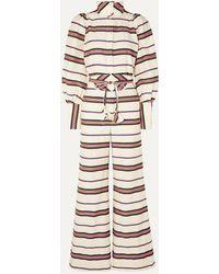 Anna Mason Jane Striped Cotton-blend Twill Jumpsuit - White
