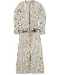 Brock Collection Metallic Brocade Peplum Midi Dress - Blue