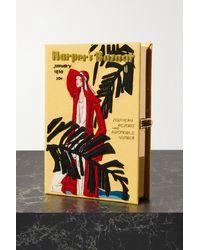 Olympia Le-Tan Harper's Bazaar Embroidered Appliquéd Canvas Clutch - Multicolour