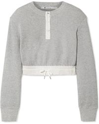 T By Alexander Wang - Cropped Striped Poplin-trimmed Waffle-knit Cotton Jumper - Lyst