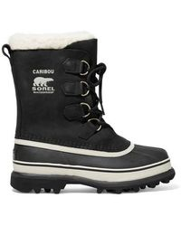 Sorel Caribou Waterproof Nubuck And Rubber Boots - Black