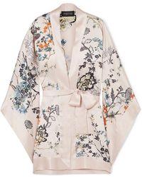 Meng Floral-print Silk-satin Kimono - Pink