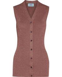 Prada - Metallic Ribbed-knit Vest - Lyst