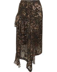 Preen By Thornton Bregazzi - Julia Ruffled Leopard-print Fil Coupé Silk-blend Chiffon Skirt - Lyst