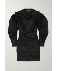 Philosophy Di Lorenzo Serafini Ruffled Cotton-poplin Mini Dress - Black