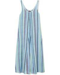 DKNY - Easy Does It Striped Crepe De Chine Nightdress - Lyst