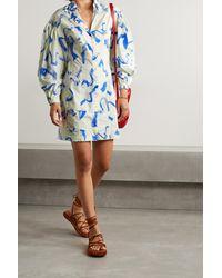 REMAIN Birger Christensen Mini-robe En Popeline De Coton Biologique Imprimée Gemma - Bleu