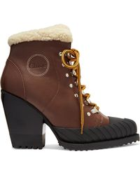 Chloé - Rylee Shearling-trimmed Leather And Rubber Ankle Boots - Lyst