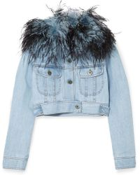 Prada - Cropped Feather-trimmed Denim Jacket - Lyst