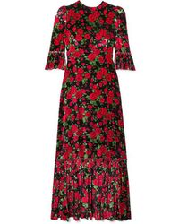 The Vampire's Wife Festival Ruffled Tiered Floral-print Velvet Maxi Dress