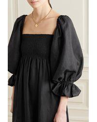 Sleeper Atlanta Off-the-shoulder Shirred Linen Midi Dress - Black