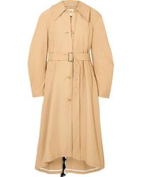 Awake - Polka-dot Crepe De Chine-paneled Cotton-blend Trench Coat - Lyst