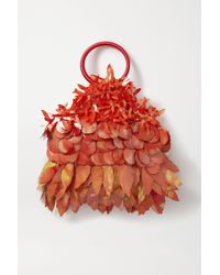 Nannacay + Net Sustain Mia Paillette-embellished Velvet And Suede Tote - Orange