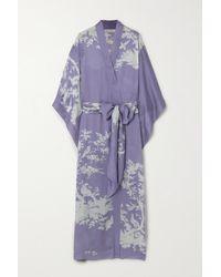 Carine Gilson Kimono En Satin De Soie Imprimé À Ceinture - Violet