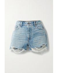 GRLFRND Helena Distressed Denim Shorts - Blue