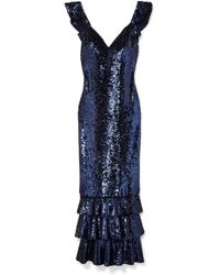 Monique Lhuillier - Tiered Sequined Mesh Gown - Lyst