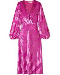 Rebecca Vallance Maison Striped Metallic Velvet Midi Dress - Pink