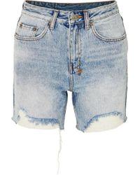 Ksubi Racer Distressed Denim Shorts - Blue