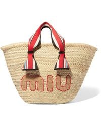 Miu Miu - Embroidered Straw Tote - Lyst