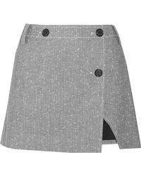 Topshop Unique - Wool-blend Tweed Wrap Mini Skirt - Lyst
