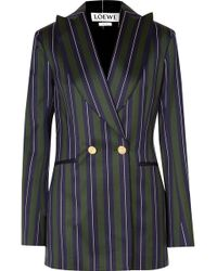 Loewe - Frayed Striped Wool And Cotton-blend Blazer - Lyst