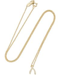 Jennifer Meyer - Wishbone 18-karat Gold Diamond Necklace - Lyst