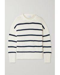 La Ligne Marin Pullover Aus Baumwolle Mit Streifen - Weiß