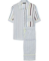 DKNY - Easy Does It Striped Crepe De Chine Pyjama Set - Lyst