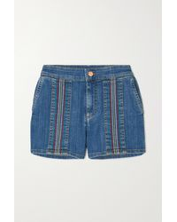 See By Chloé Striped Denim Shorts - Blue