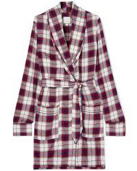 Three J Nyc - Checked Flannel Robe - Lyst