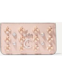 Christian Louboutin - Credilou Spiked Textured-leather Wallet - Lyst