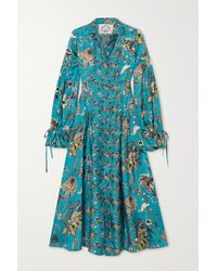 Evi Grintela Love Ruffled Floral-print Silk-twill Midi Shirt Dress - Blue