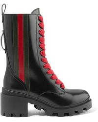 Gucci 40mm Leather Combat Boots - Black
