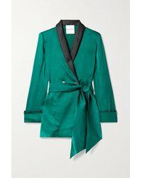 Halpern Belted Satin Blazer - Green