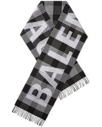 Balenciaga - Fringed Checked Intarsia Wool Scarf - Lyst