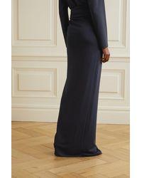 Brandon Maxwell Wrap-effect Gathered Jersey Maxi Skirt - Blue