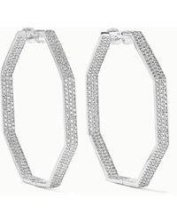 Ofira Geo 18-karat White Gold Diamond Earrings - Metallic